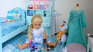 American Girl Doll Disney Frozen Elsa's Bedroom ~ Watch In