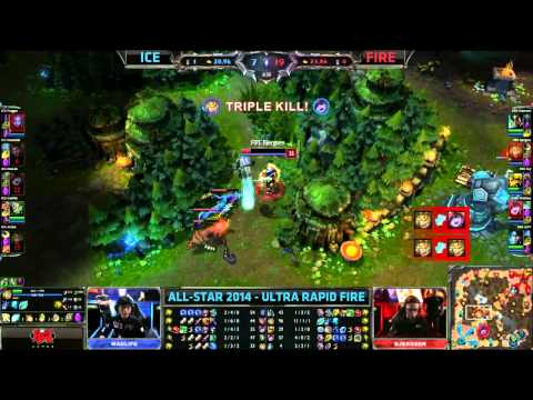 Ice (Doublelift Jayce) VS Fire (Bjergsen Ezreal) URF Highlights - Allstars 2014 Paris
