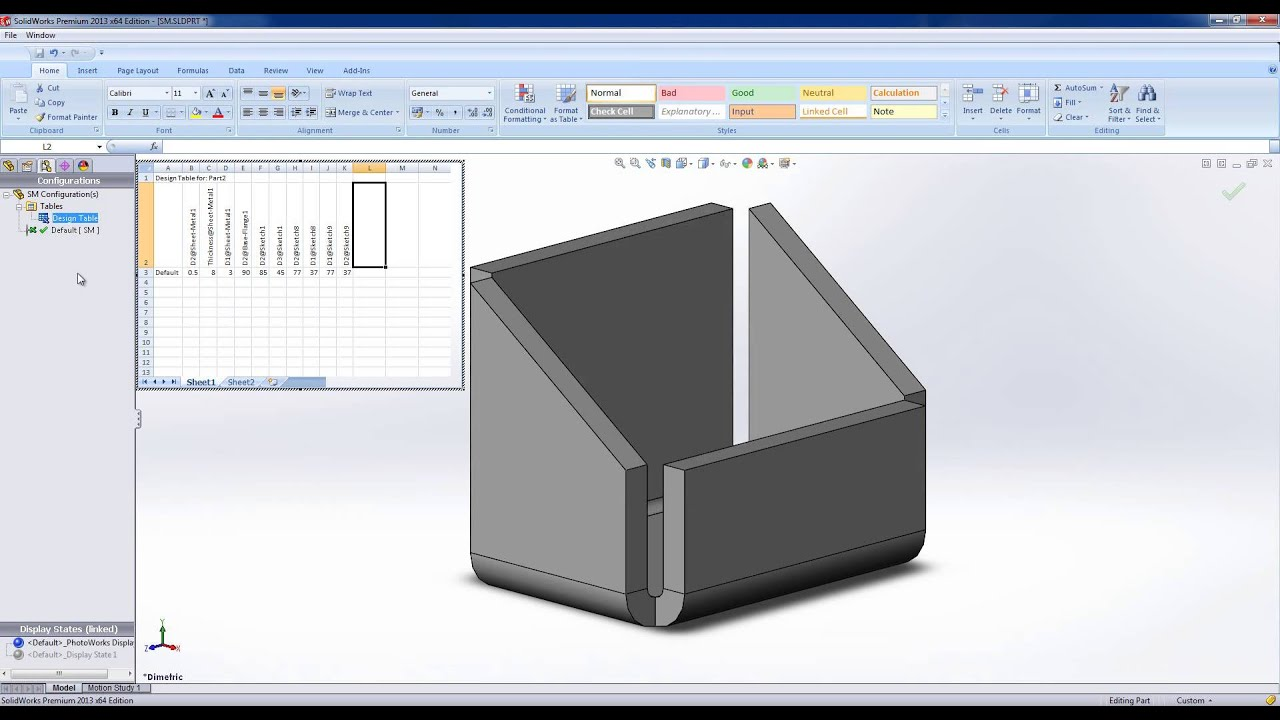 Using Design Tables in SolidWorks - YouTube