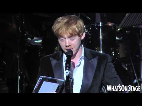Rupert Grint accepts the WhatsOnStage Award for Best London Newcomer