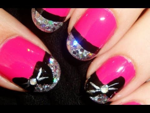 Glitzy Pink Bow Nails