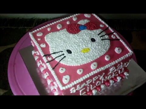 How to Easy Decorate Hello Kitty Head Square Cake