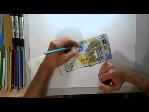 Speed Drawing: 5 euro banknote drawing .Dibujo billete € 5.drawing by Damián Riestra
