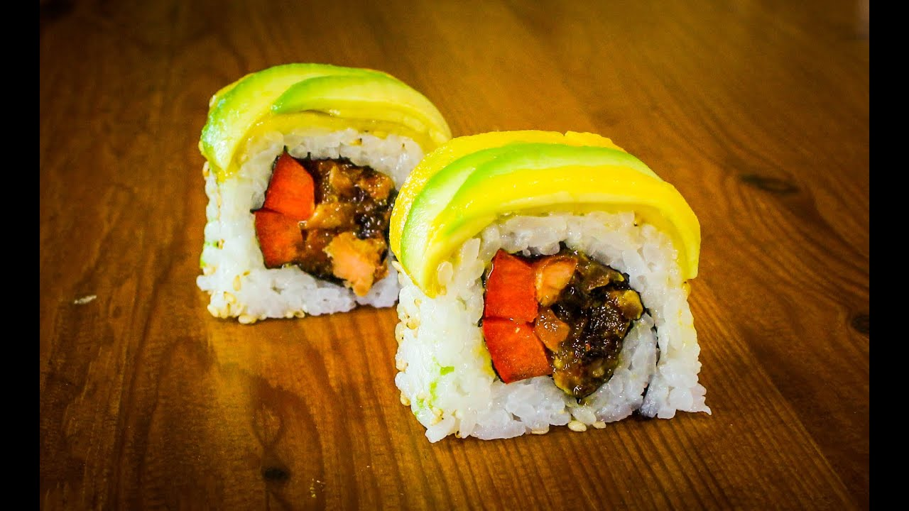 Mango Avocado Sushi Roll Recipe - How To Make Sushi Rolls - YouTube