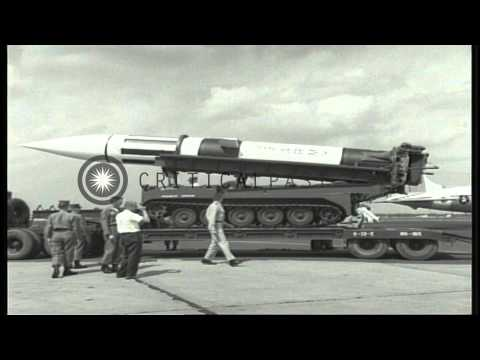 The Pershing missile being unloaded from the C-124 airplane at the