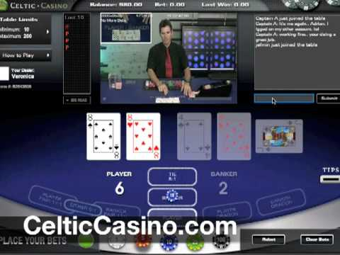 Live Baccarat with the Live Dealer Diego at CelticCasino.com