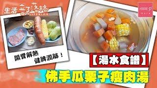 【湯水食譜】佛手瓜栗子瘦肉湯 開胃解熱 健脾潤肺! 抗疫湯水 簡易 湯水