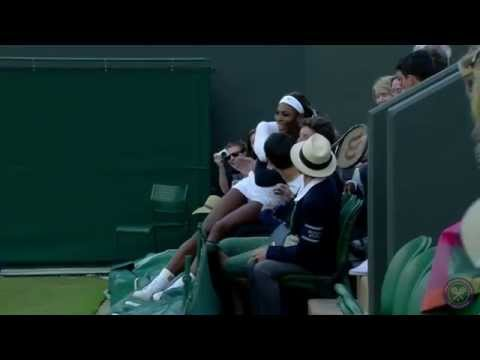 Serena Williams dives into the crowd - Wimbledon 2014