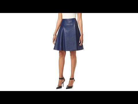 NENE by NeNe Leakes Faux Leather Flared Skirt