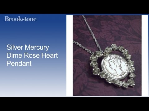 Overview: Silver Mercury Dime Rose Heart Pendant