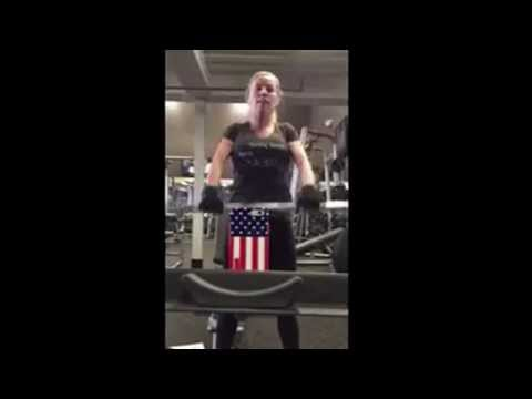 Natasha Kizmet Workout: BB shoulder front raises.