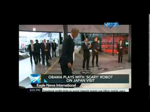 President Barack Obama Plays 'Scary' Robot in Japan
