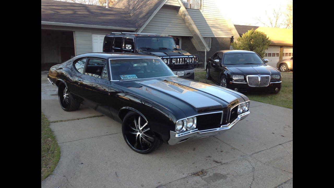 1970 Black Cutlass Fastback 24x11 22x9 5 Staggered Wheels