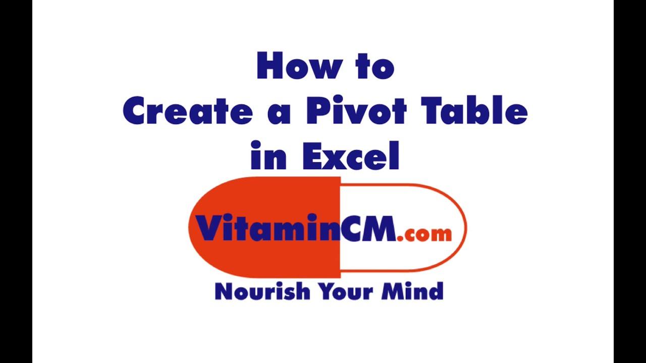 Excel Pivot Table Tutorial Youtube