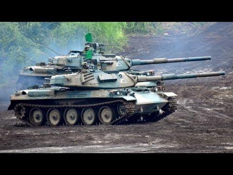 74式戦車 Royal Ordnance L7A1  105mm戦車砲 実弾射撃 2013|Type 74 MBT