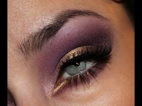 Gold and Deep Purple Makeup