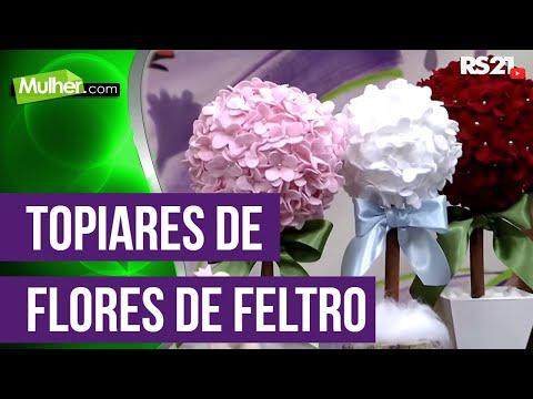 Mulher.com 08/12/2014 - Topiares de Flores de Feltro por Karina Raszl