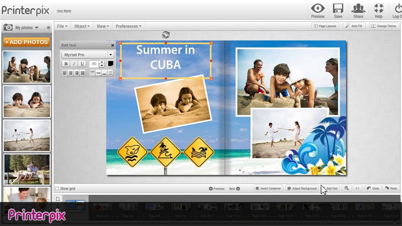 Printerpix's easy-to-use online software lets photo lovers create custom books, cards, calendars, and canvases by emblazoning quality, professionally printed surfaces with personalized images. Customers can fill the pages of a photo book in as little as five minutes using provided templates, themes, backgrounds, clip art, and style guides without ever leaving the comforts of their office Price: $