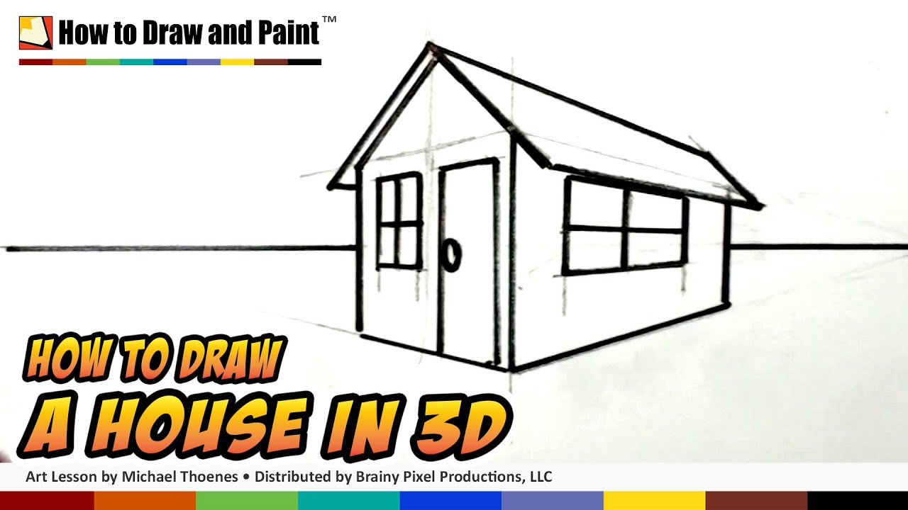 How to draw a house in 3d for kids easy things to draw youtube 3d house drawing