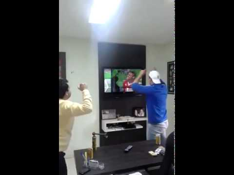 Brazilian fan smashes his TV while celebrating during penalty shootout V Chile World Cup 2014