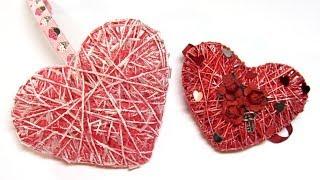 Corazones 3D de hilo o cordón