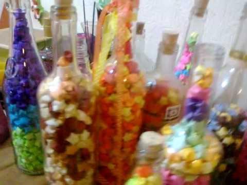 Venta de botellas con estrellitas de papel