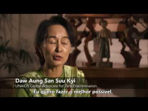 A vencedora do Prêmio Nobel, Daw Aung San Suu Kyi, pede pela Zero Discriminação