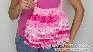 DIY Learn To Crochet Ruffle Yarn Purse Hand Bag Tote