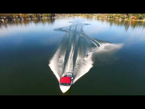 Drone waterski video from 11-08-16  AerialExtreme.com