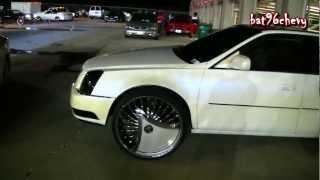 "White W/ Blue Pearl Cadillac DTS On 26"" DUB Skirts Shokka"