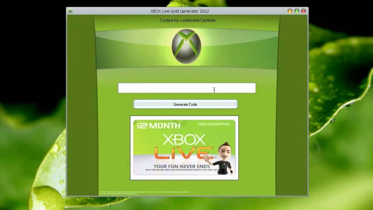 descargar generador de codigos xbox live gold 2012