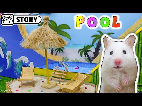 WaterPark for Hamster 🌴 Swimming Pool Water Slide 🌴 Sun Beds & Umbrella
