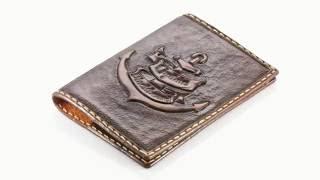 Обложка для паспорта с гравировкой морской символики