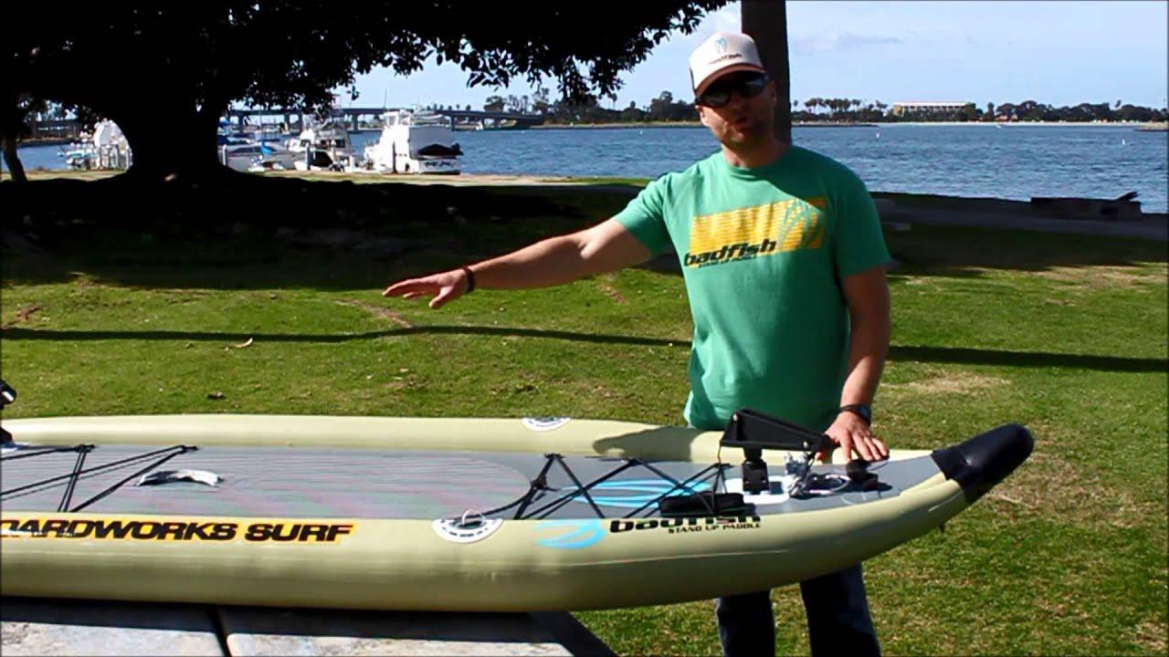 Badfisher inflatable fishing sup youtube for Inflatable fishing sup
