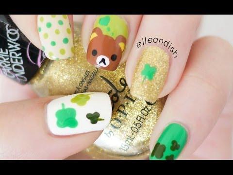St. Patrick's Day Rilakkuma Nails