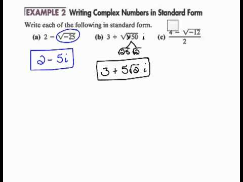 writing complex numbers in standard form