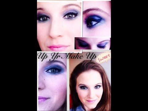 Maquillaje de ojos con tonos púrpura, azul y verde.