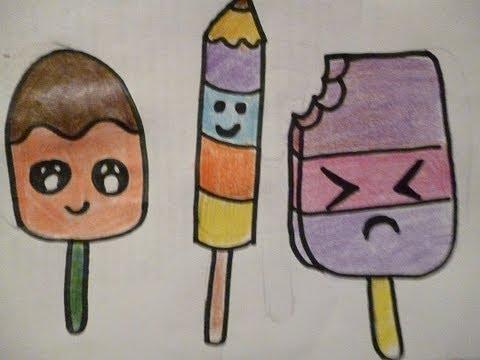 Dibuja Paletas Heladas Kawai Postes Dibujos lolipop ice Fácil Easy