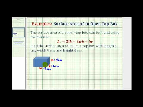 Find the Surface Area of an Open Top Box