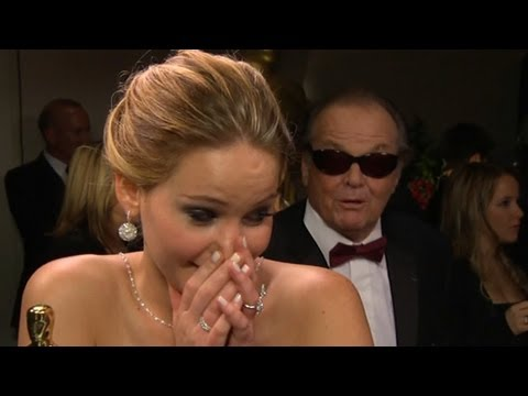 Jennifer Lawrence Oscar Interview Interrupted by Jack Nicholson; Anne Hathaway Discusses Win