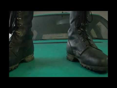 trample on a car in army boots