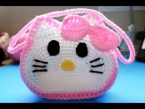 "Como tejer Bolista de ""Hello Kitty"" (Subtitles in English) Parte 1 ..."