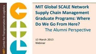 MIT SCALE Graduate Programs Webinar Series: Alumni Perspective