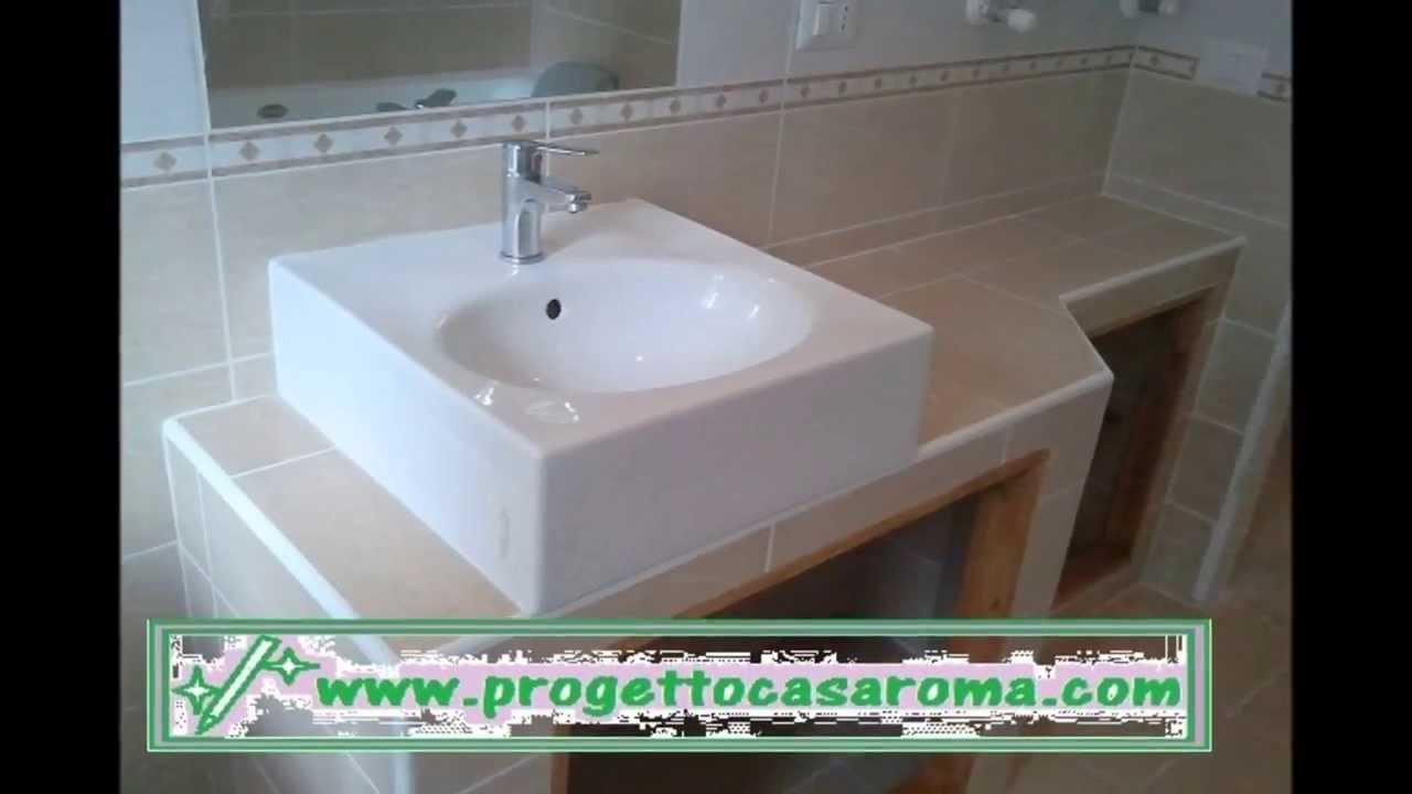 ristrutturazione appartamento bagno roma realizzazione di lavabo in muratura youtube On lavabo bagno in muratura