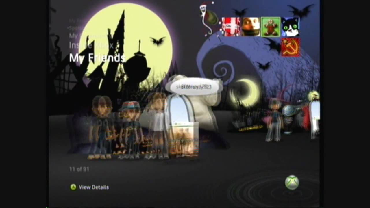 Nightmare Before Christmas Xbox 360 Premium Theme Preview - YouTube