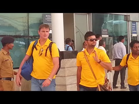 CHENNAI SUPER KINGS arrives at Mumbai - Raina, Ravindra Jadeja, Nehra, Faf du Plessis,