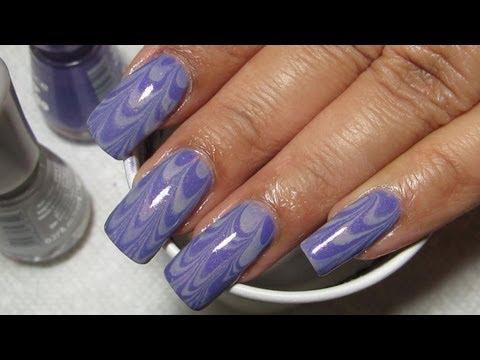 Purple & Grey Water Marble Nail Art Tutorial (Water Marble March 2013 #2), My first water marble using Essence polishes! Not my favorite ever but pretty pleased with how it turned out even though I only ended up wearing it for one d...