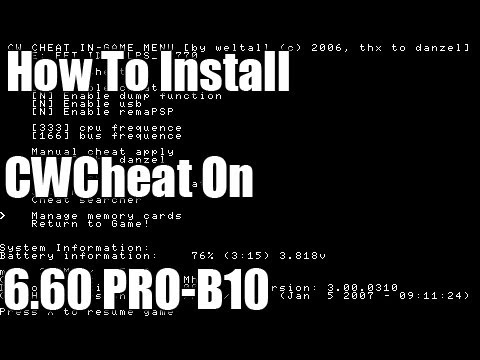 How To Install CWCheat On 6.60 PRO-B10