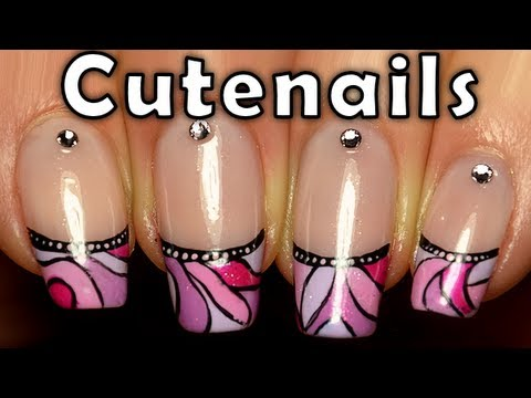Colorful  mosaic French manicure nail art tutorial by cute nails