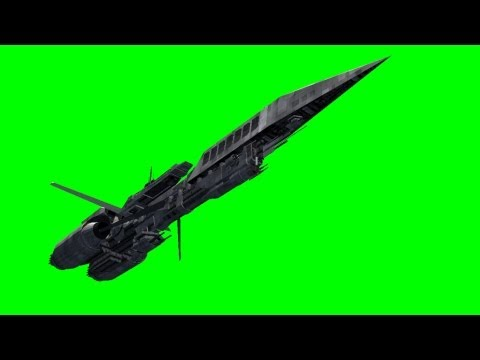 UFO Spaceship Battleship in fly over - green screen effects